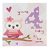 Pink Fizz Girls 4th Birthday Card