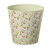 Parlane Lovely Vintage Metal Flower / Plant Pot with Fuschia Detail - 19 x 19cm