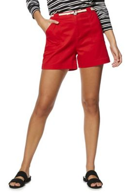 F&F High Waisted Shorts with Belt Red 22