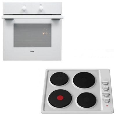 White Amica 60cm Single Electric Fan Oven & Cookology Hot Plate Hob Pack