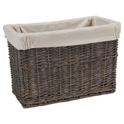 Tesco Wicker Fabric Lined Magazine Basket, Grey