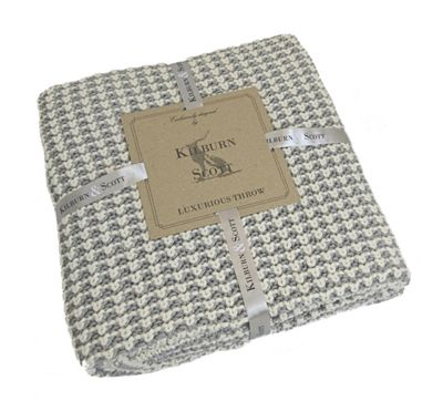 Kilburn & Scott Fishermans Knit Throw Grey 1270 x 1520mm