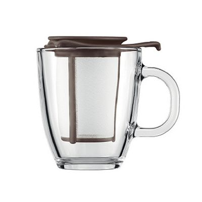 Bodum Yo-Yo Glass Mug and Tea Infuser Strainer Set, Brown