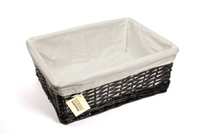Woodluv Black Wicker Storage Basket With White Lining - Large
