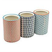 Nicola Spring Patterned Porcelain Kitchen Utensil Pots - Set Of 3