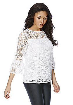 F&F Lace Bell Sleeve Top - Cream