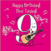 Happy Birthday, Nine Today Girls Greetings Card