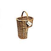 Woodluv Brown Wicker Oval Stair Basket Basket With Handle