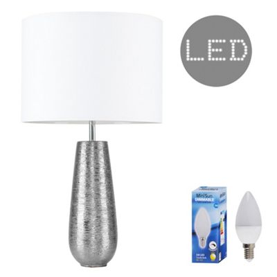 Hastings 65cm Touch Dimmer LED Table Lamp - Silver & White