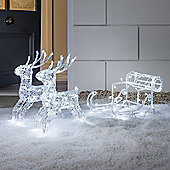 Light Up LED Christmas Reindeer & Sleigh