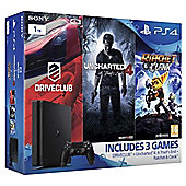 PS4 Slim 1TB Family Game Pack (Driveclub, Uncharted 4, Rachet and Clank) Console Bundle Black (D Chassis)