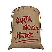 Santa Woz Here Hessian Santa Sack 40x55cm, Brown