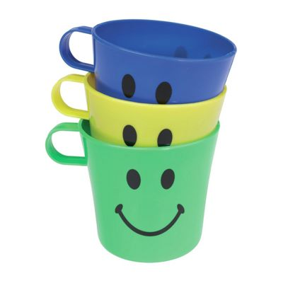 Chef Aid Smiley Face Cups, Plastic Construction, 3 Pieces