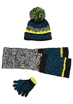 F&F Colour Block Bobble Hat, Gloves and Scarf Set - Multi
