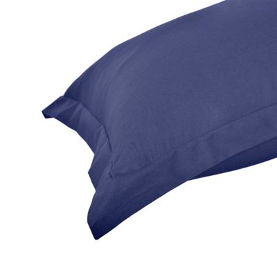 Homescapes Navy Blue Plain Oxford Pillowcase 100% Egyptian Cotton Pillow Cover 200 TC, King Size