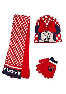 Disney Minnie Mouse Hat, Gloves and Scarf Set - Red