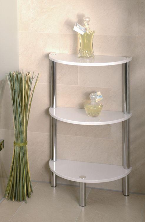 Urbane Designs Bellisima Shelf in High Gloss White / Chrome