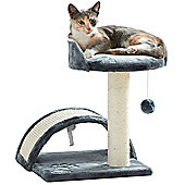 Milo & Misty Cat Bed and Scratching Post Activity Tree with Toys - Grey