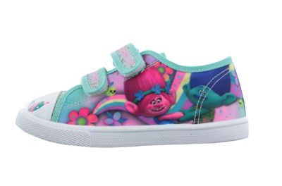 Girls Trolls Green Pink Silver Glitter Canvas Trainers Sport Shoes UK Size 7