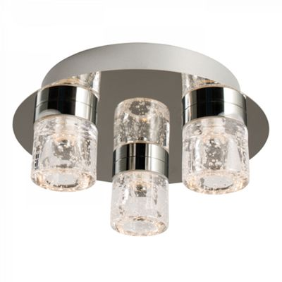Chrome Effect Plate & Clear Glass With Bubbles 3lt Flush IP44 4W
