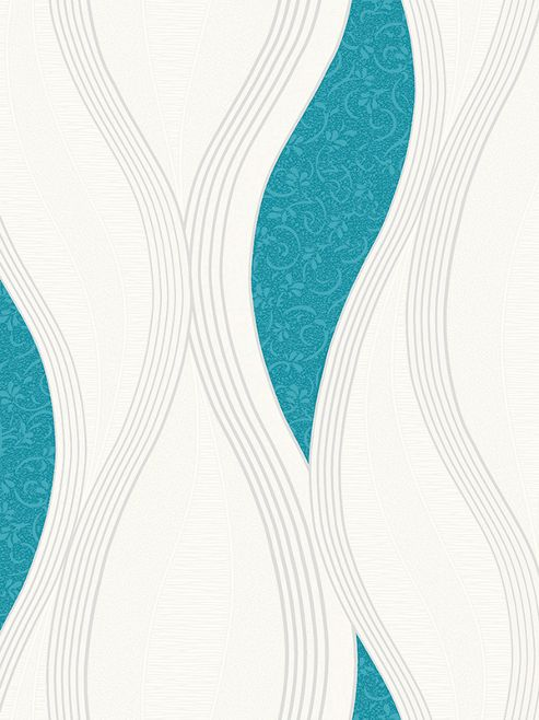 Wave Embossed Textured Wallpaper - Turquoise - E62001