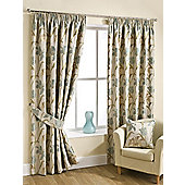 Lola Pencil Pleat Curtains : Aqua, 229x183cm