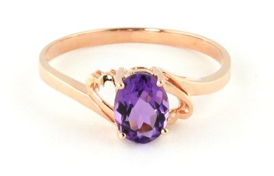 QP Jewellers 0.75ct Amethyst Classic Desire Ring in 14K Rose Gold - Size P 1/2