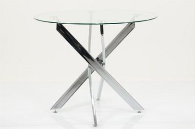 Enzo Circlular Metal Dining Table Glass Top