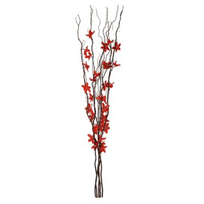 Decorative Brown Twig Lights & Red Flowers
