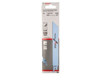 Bosch S 922 AF Sabre Saw Blades 1 x Pack of 5 Flex Metal