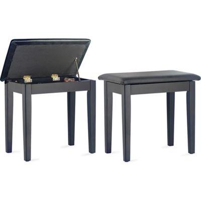 Stagg Piano Bench with Storage Compartment - Matt Black