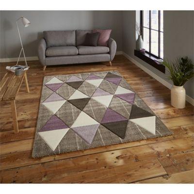 Brooklyn Triangles Beige & Purple Rug - 120x170cm