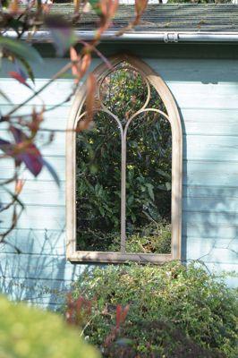Rustic Garden Outdoor Wall Mirror Chapel Window Design 3Ft8 X 2Ft 112Cm X 61Cm