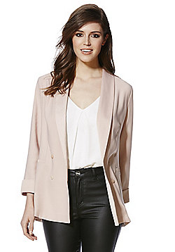 F&F Crepe Unlined Double Breasted Blazer - Blush pink