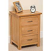 Boston Solid Oak 3 Drawer Bedside table cabinet