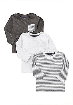 F&F 3 Pack of Striped and Marl Long Sleeve T-Shirts - Grey