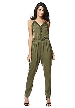 Vila Lace Trim Jumpsuit - Khaki