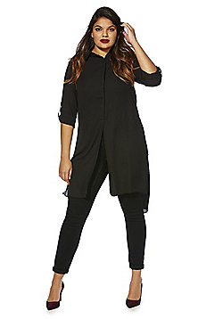 Sienna Couture Long Line Plus Size Tunic - Black