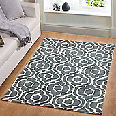 Homescapes Riga Handwoven Grey and White 100% Cotton Printed Patterned Rug, 160 x 230 cm
