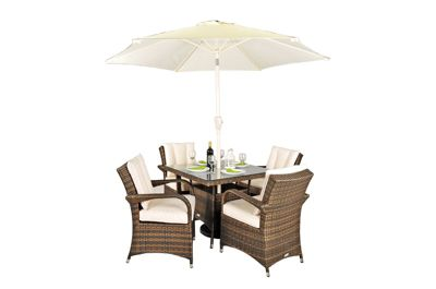 arizona rattan garden furniture 4 seat square glass top table dining set with free parasol with