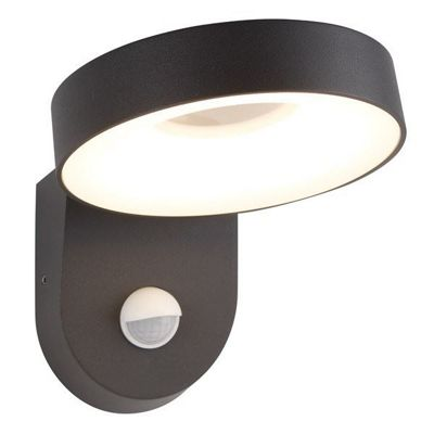 SAN DIEGO OUTDOOR PIR 1 LIGHT LED WALL BRACKET, CIRCLE SHADE, DARK GREY