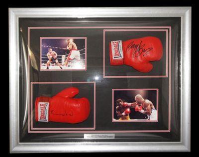 Signed Nigel Benn v Chris Eubank Boxing Gloves Framed Display - Champions + COA