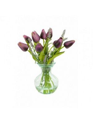 Artificial - Tulip & Lavender Mix in Vase - Purple