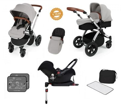 Ickle Bubba Stomp V3 AIO Travel System/Isofix Base/Mosquito Net Silver (Silver Chassis)