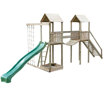 Action Arundel Twin Wooden Climbing Frame with Slide and Climbing Net