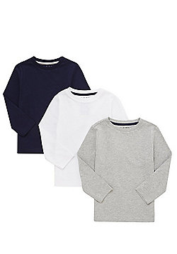 F&F 3 Pack of Long Sleeve T-Shirts - Grey