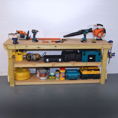 MDF Wooden Work Bench - Pressure Treated - With Shelf - 7ft