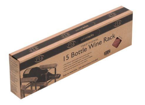 George Wilkinson 15 Bottle Wine rack Kit - Stained Pine / Galvanised Steel