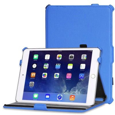 Blue Leather Look Case Cover For Apple iPad Mini 1 / 2 / 3