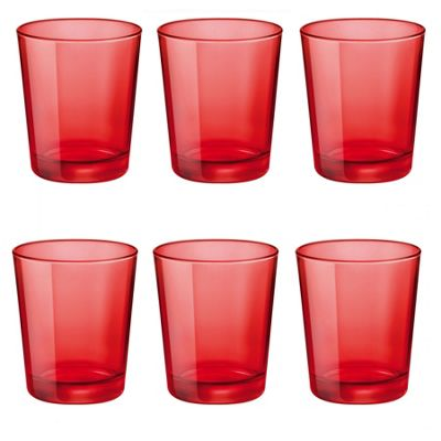Bormioli Rocco Castore Coloured Glass Drinking Tumblers - Red - 300ml - Pack of 6